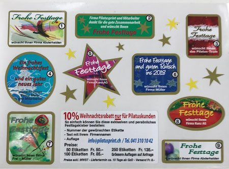 Festtags-Aufkleber für Couverts und Päckli.